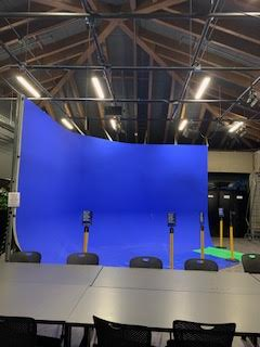 The Blue Cyc Wall is also located in building 18. This wall is where students can create any backdrop they may need if they're filming.