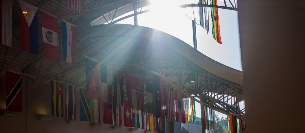 "The flags or other ""identifier"" inside of The Students First building"